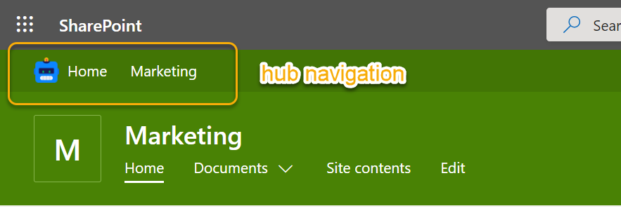 SharePoint  - Home Marketing  Marketing  Home Documents v  p Sear  Site contents  Edit